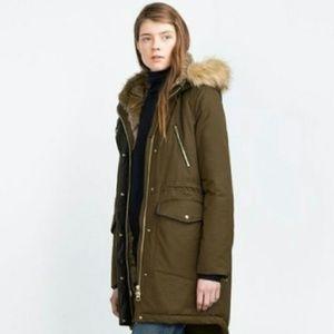 Zara Trafaluc Water Resistent Faux Fur Hooded Coat